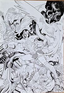 WONDER WOMAN  JACK JADSON  GAL GADOT  ORIGINAL COMIC ART HUGE SPLASH PAGE!