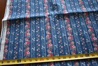 By 1/2 Yd, Vintage,Pink Floral Stripes on Blue Quilt Cotton,Concord/Kessler,P422