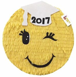 Graduation Emoticon Pinata White Cap 16""