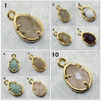 Egg Natural Amazonite Amathyst Opal Rutile 24k Gold Plated Connector DIY Jewelry