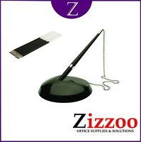 RECEPTION DESK PEN ON CHAIN AND STAND + FREE PACK OF 10 REFILLS
