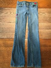 """Seven 7 Women's """"True Love"""" Embroidered Floral Bootcut Jeans Size 25"""