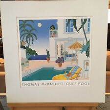 "1991 THOMAS MCKNIGHT ""GULF POOL THE FOUR SEAS"" 24"" X 24"" MATTED 18"" x 18"" PRINT"