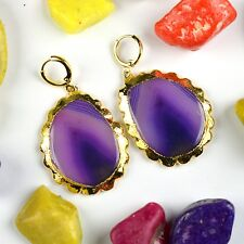 1 Pair Natural Agate Gemstone Smooth Cabochon 24k Gold Plated Earrings Jewelry