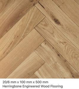 Herringbone Harrow Oak Rustic 20/6 x 100 x 500mm  engineered wood flooring