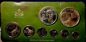 1979 Coinage Of Guyana Franklin Mint Sterling Silver 8-Coin Proof Set w/ COA-FM