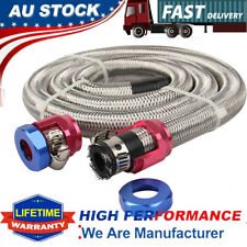 """Universal 3/8"""" Engine Stainless Steel Flex Braided Oil Fuel Line Kit Hose Clamps"""