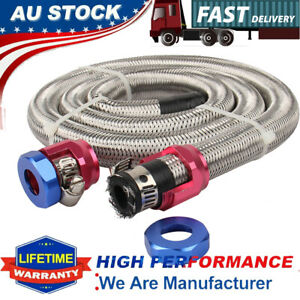 "Universal 3/8"" Engine Stainless Steel Flex Braided Oil Fuel Line Kit Hose Clamps"