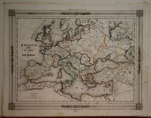 EUROPEAN CONTINENT 1846 DUFOUR ANTIQUE ORIGINAL COLORED LITHOGRAPHIC MAP
