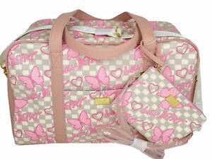 NWT Betsey Johnson Pink Gray Butterflies Cruizin Weekender Duffel Bag & Wristlet
