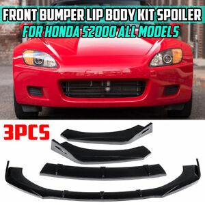 Gloss Black Front Bumper Lip Body Kit Spoiler Splitter For Honda S2000 2004-2009