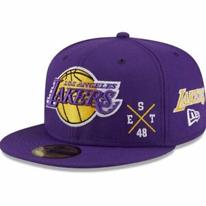 New Era Los Angeles LA Lakers Icon Edition 59FIFTY Fitted Hat Cap Size 7 1/8