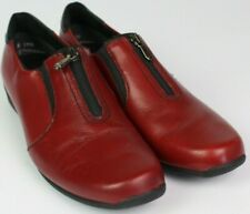 """munro berkeley size 8.5 N red leather zip front loafer slip-on shoe 1.5"""" wedge"""