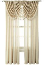 NEW Royal Velvet Curtain Rod-Pocket Panel Pair Cherise Sheer Tan Champaign Dune