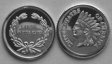 (100) 1 GRAM .999 PURE SILVER ROUNDS INDIAN HEAD PENNY DESIGN