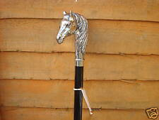 SILVER HORSE HEAD WALKINGSTICK