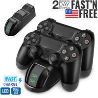 Dual Controller LED Charger Dock Station USB Fast Charging For PlayStation 4 PS4