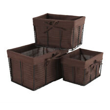 Set of 3 Shelf Storage Basket Decorative Organizing Baskets with Liner Rustic