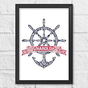 Personalised Royal Navy Gift Print, Marines, Military Birthday, Retirement gift