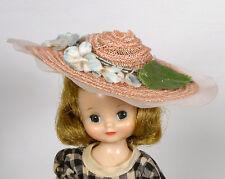 "Vintage Tiny 8"" Betsy McCall Pink Hat Blue Flowers Sunday Best Cotillon EXLNT js"