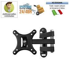 """STAFFA BRACCIO TV A MURO MONITOR LCD LED PLASMA DA 10"""" A 20"""" 22"""" 24"""" 26"""" 27"""""""