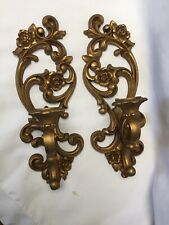 Pair Gold Floral Wall Sconces 4118 Hollywood Regency 1971 Homco Home Interior