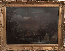19th C insolito Olandese sera PAESAGGIO INVERNALE dipinto ad olio antico.