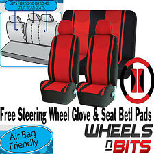 Red Mesh Cloth Car Seat Cover Steering Glove fit VW Golf MK3 MK4 MK5 MK6 MK7