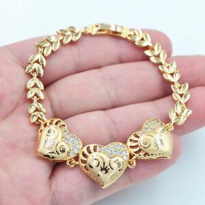 18K Yellow Gold Filled Women Mystic Topaz Laser Engraving Love Hearts Bracelet