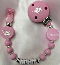❤ PERSONALISED Your Name Choice ❤  DUMMY CLIP ❤ PRINCESS - CROWN ❤ PINK/SILVER ❤