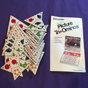 Vintage 1980 Pressman Picture Tri-Ominos Triangle Childrens Tile Match Game Kids