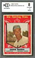 Ernie Banks Card 1959 Topps #559 As Chicago Cubs BGS BCCG 8