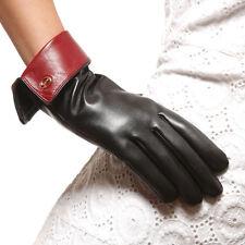 Womens Genuine Nappa Leather Warm Gloves 2 Tone More Color On Sale #E21