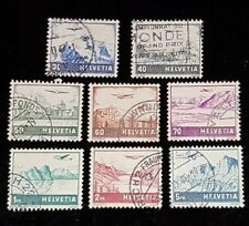 1941 Complete Set Switzerland Airmail Stamps C27-34! U Used! F/VF 29 30 31 32 33