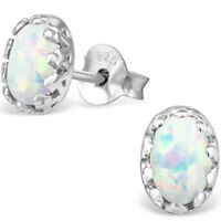 925 Sterling Silver Opal stud earrings quality jewellery UK october birthstone