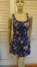 50s VINTAGE TROPICAL BLUES FLORAL SEXPOT BOMBSHELL SWIM BATHING PLAY SUIT 40