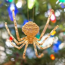 Gold Christmas Beaded Spider Ornament with Legend