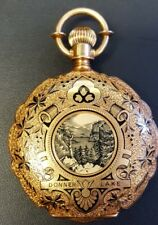 Waltham Heavy 18k Gold Enamel Hunter Case Antique Pocket Watch 45mm 85.3 Grams