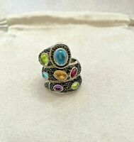 Judith Ripka Sterling Silver 925 Snake Multi Color Gemstone Ring 5.5