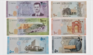 Sirian 6 banknotes (50, 100, 200, 500, 1000, 2000) Pounds 2009-2017 UNC