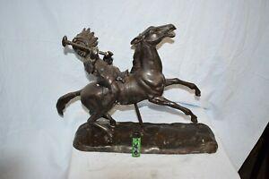 Indianer auf Pferd reitend,Bronze, schöne Antikpatina, 50cm