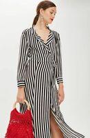 BNWT Topshop Black White Stripe Midi Wrap Dress UK 8 £49