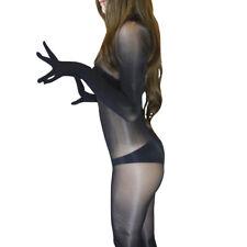 8D Oil Shine Bodysuit Super Transparent Full Bodystocking & Gloves Close Crotch