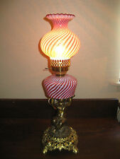 Gone with the Wind Vintage Antique Fenton Crimped Rim Cranberry Swirl Table Lamp