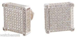 Sterling Silver White CZ Stones 14mm Square Shape Stud Unisex Earrings