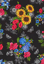 Black Garden Journal Floral by Ruth Levison Timeless Treasures Fabric 1/2 Yard