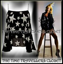BNWT TOPSHOP KATE MOSS Black Silver Sequin Star Spaghetti Swing Vest Top UK 10