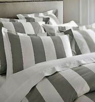 Hamptons Doona Duvet Queen Quilt Cover Set Charcoal Grey And White 210 x 210 cm