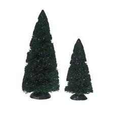 Department 56 Snow Village Halloween Pu 00006000 rple Glitter Sisal Trees Set of 2