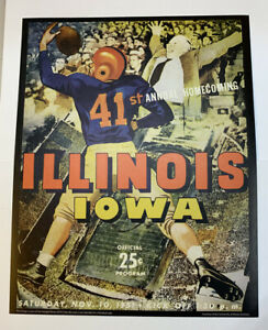 "Illinois Fighting Illini v Iowa Football 1951 Program Poster Print 14"" x 11"""